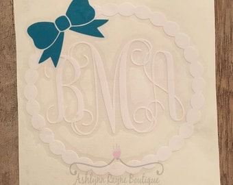 Decal- Pearl Border and Bow Monogram Decal- Monogram Decal- Bow Decal- Yeti Decal- Yeti