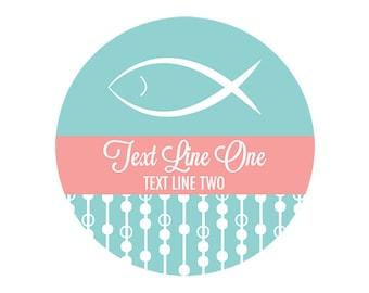 Christening Fish Label 24ct - Baptism Party Label - Christening Personalized Label - First Communion Sticker - Party Label (6004R)