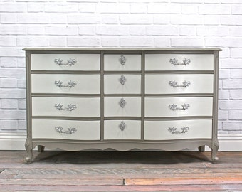 SOLD - Grey on Grey French Provincial Dresser - SOLD