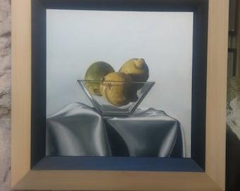 Three lemons - oil painting on MDF board