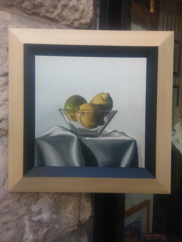 Painting Mdf Board ~ Three lemons oil painting on mdf board