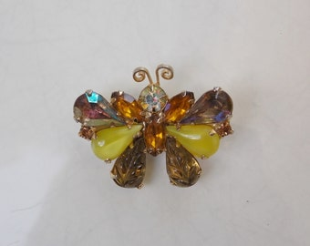Small Vintage Yellow & Gold Jeweled Butterfly Pin Brooch - Free Shipping