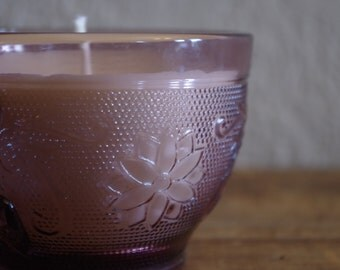 Hand Poured Soy Candle in Vintage Purple Glass Tea Cup