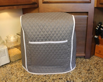 Viking  Mixer Cover OVER 300 Color Combos - 7 Quart (Medium Gray/White Shown) M.T.O. Custom Size - Makes Great Gift! Gift under 45