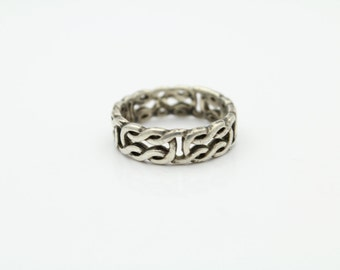 Vintage Crushed Chain-Style Band Ring in Sterling Silver Size 5.5. [11267]