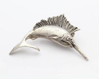 Vintage Sterling Silver Marlin Fish Figural Brooch. [6632]