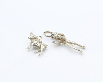 Set of Two Vintage 3-D Charms of Matador and Bull in Sterling Silver. [10009]