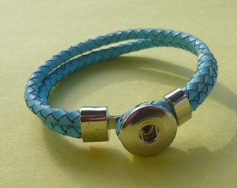 Aqua Genuine Leather Double Strap Braided Bracelet #2 with plain Silver Findings for Snap It Chunk Charms