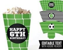 Soccer printable pop corn boxes - Printable and Editable PDF files.