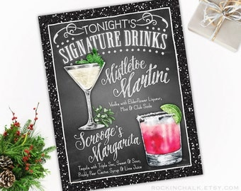 Holiday Wedding Decoration | Signature Drink Sign - DUAL DRINKS - Personalized  Weddings, Parties, Events - Made to Order - All Custom