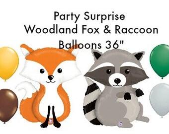 "Woodland Animals Fox and Raccoon 36"" Balloons Baby Shower Birthday Party Animal Balloons"