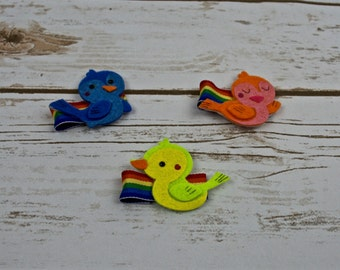Free Shipping* Colorful  Felt Hair Clips - Birdies - Clippies - Barettes - Hair Accessories - Little Girl - Holiday - Party - Gift - Neon
