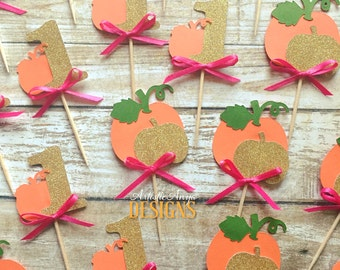 Pumpkin Birthday Age Gold Glitter Cupcake Toppers - Set of 12 - Little Pumpkin Party - Fall Birthday Decorations