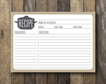 Printable 5x7 Recipe Card - Instant Download - Recipe Card Printable - 5x7 Recipe Cards