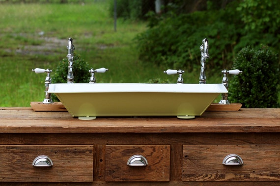 Vintage Trough Sink : ... vintage inspired trough sink churlish green vessel bath-utility sink