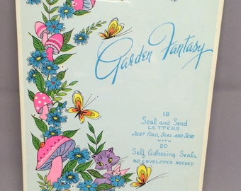 Vintage Garden Fantasy Seal & Send Letters Stationery With Seals No Envelopes Needed Mushrooms Butterflies Cat Kitty Kitten