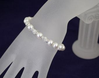 Bridal Jewelry Pearl Bracelet Swarovski Pearl and Rhinestone Bracelet Wedding Jewelry Bridesmaid Bracelet
