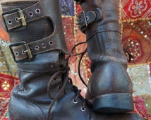 USA WWII Combat Field Boots, 1949 Stamped Boots,  Antique Lace Up Combat Boots, Size 7 D Mens Combat Boots, Womens 8.5 Wwii Boots, Punk Rock