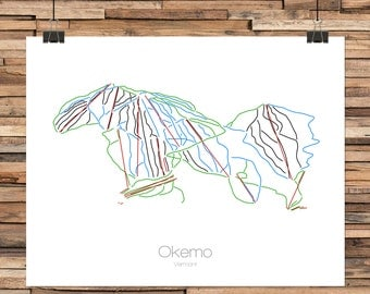 Okemo Vermont - Modern Ski Trail Map - Line Drawing