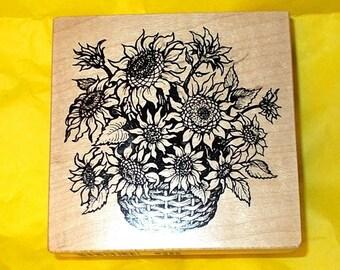 PSX Sunflowers basket rubber stamp G-3098 Paper crafts Rubber stamping Card making Flowers floral Botanicals correspondance art journaling