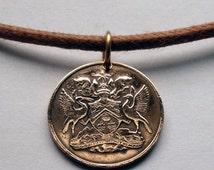 1966 to 1973 Trinidad & Tobago 1 cent coin pendant Trinidadian Tobagonian Trini necklace Scarlet Ibis bird Port of Spain caribbean No.000398