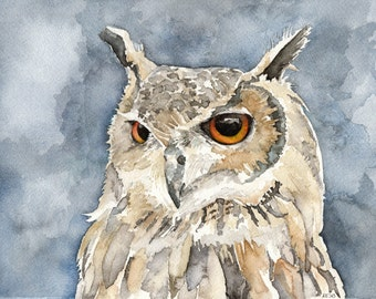 "Great Horned Owl Painting - Print from Original Watercolor Painting, ""The Night Hunter"", Fall Decor, Brown Owl, Bird, Owl, Owl Decor"