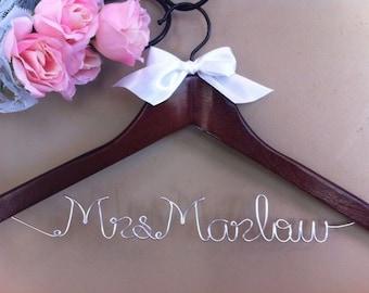 Custom/ personalized Bridal Hanger with Satin Ribbon Bow Embellishment
