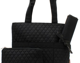 Solid BLack /Navy Quilted diaper Bag