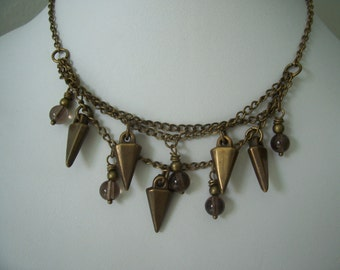 Edgy Upcycled MultiStrand Smoky Quartz and Brass Necklace