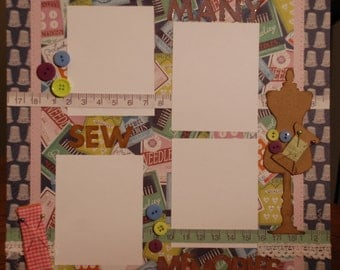 """12x12 premade """"Sew many memories"""" scrapbook page"""