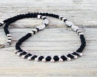 Mens Black Turquoise Necklace, Silver Necklace, Mens Beaded Jewelry, Mens Beaded Necklace, Natural Stone Necklace, Choker Men