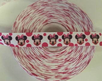 """HOT PINK MINNIE Inspired  Dots 7/8"""" 22mm Grosgrain Hair Bow Craft Ribbon 1861"""