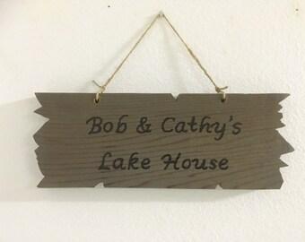 Lake House sign, wooden lake house sign, lake house decor, personalized lake house sign, wood lake house sign, personalized signs