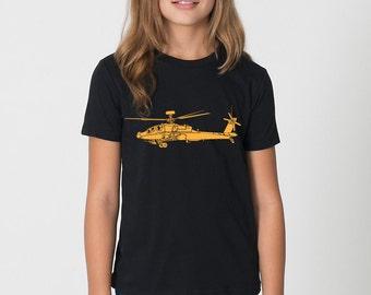 KillerBeeMoto: Boeing AH-64 Apache Attack Helicopter Short & Long Sleeve T-Shirt Cartoon Version