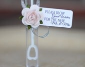 """wedding bubble tags, bubble send off, custom tags reading """"please blow good wishes for the new mr & mrs"""""""