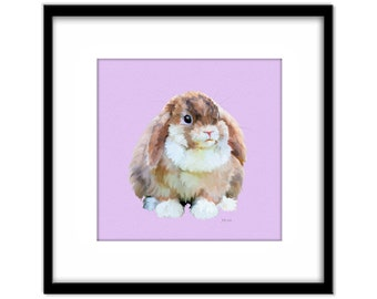 Colourful Rabbit Printable Art, Instant Download Nursery Art, Pink Room, Girls Room