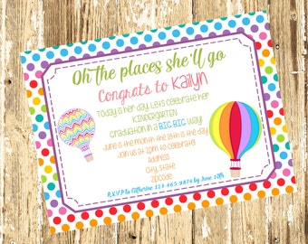 Kindergarten Graduation Invitation-Dr. Seuss Oh the Places