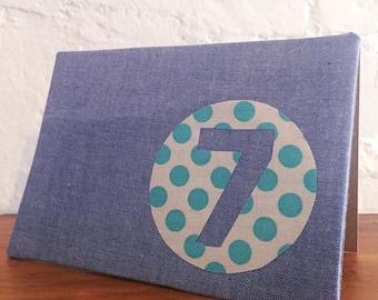 Handmade fabric greeting card - 7th birthday