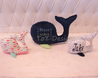 Stuffed Whale Plush Toy - Monogram it or add a birth announcement!