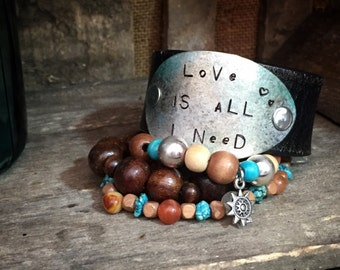 LoVe Is aLL I NeeD Leather Cuff Bracelet Leather Bracelet Leather Cuff Bohemian Style Jewelry Spoon Bracelet