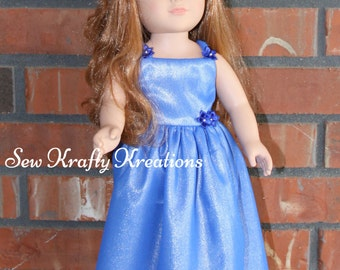 "Beautiful Satin Blue Doll Gown for 18"" doll like American Girl"