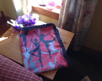 Ballerina/gymnastics fleece blanket - crochet edge -- Free Shipping!!