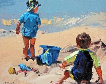 Canvas print, of my, original artwork, impressionist, oil painting, 'Sand Play Petite II', colorful artwork, beach art, beach house decor.