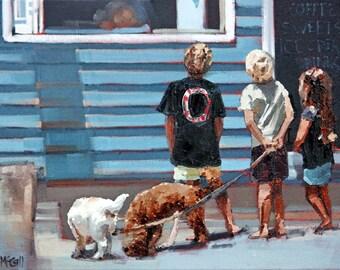 Canvas print, of my, original artwork, impressionist, oil painting, 'Beach Kiosk II', colorful artwork, beach art, beach house decor, cafe.