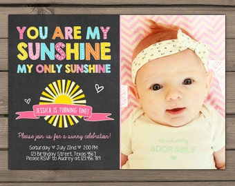 You are my sunshine Birthday invitation Sunshine birthday party First Birthday Invite Pink lemonade Birthday photo Digital PRINTABLE ANY AGE