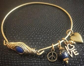 Peace & Love Earth braided bangle by BurnedinBrooklyn Handcrafted Wooden Jewelry