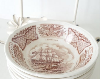 Vintage Mismatched Fair Winds Berry Bowls - Set Of 6