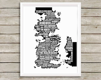 """Map of Westeros, Game of Thrones, Westeros Map, A Song of Ice and Fire, Westeros, Westeros and Essos, 8x10"""", 11x14"""", 16x20"""", 18x24"""""""