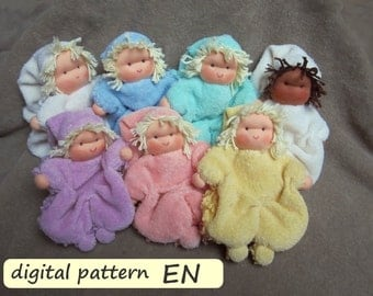 Pattern with instruction in English for Waldorf cuddle doll 'Klaasje', PDF download. Cuddle doll for children.