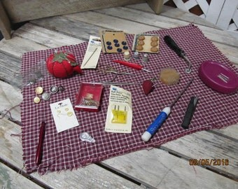 Vintage Assortment Lot of Sewing Notions Thimbles Pin Cushion Carded Buttons Tools More